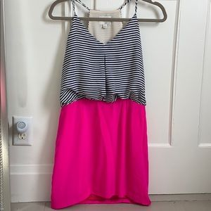 Navy and pink mini dress